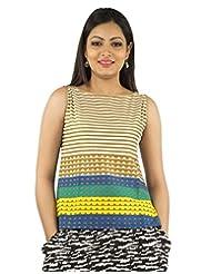 Jaipur Kurti's Pure Cotton Sleeveless Brown Kurti