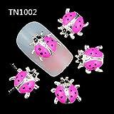 Fission 10 Pcs/Pack New 2017 Whole Pink Ladybug 3D Nail Art Decorations DIY Alloy Nails Tools Top Nail TN1002