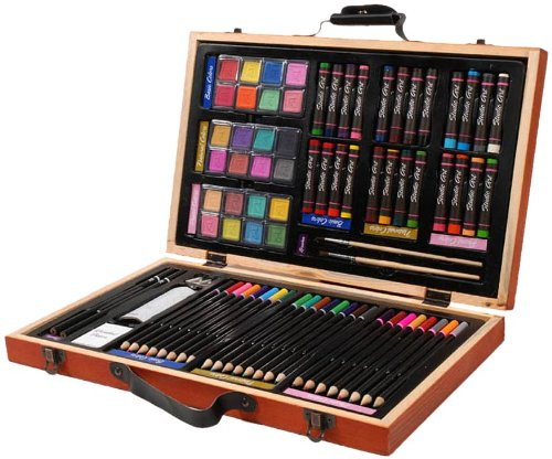 Darice 80-Piece Deluxe Art Set - Art Supplies for Drawing, Painting and More in a Compact, Portable Case - Makes a Great Gift for Beginner and Serious Artists