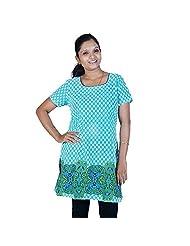 Jaipur RagaBollywood Abstract Design Turquoise Cotton Top Turquoise Girls Kurti