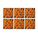 Leaf Designs Orange Birds In Flight Coaster - Set Of 6
