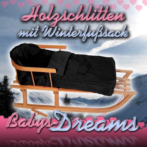 Babys-Dreams *KOMBIPAKET* Holzschlitten mit Rückenlehne + Zugleine + Winterfusssack 108cm SCHWARZ aus Fleece für Kinderwagen - POLAR - Lehne -Kinderschlitten - Schlitten aus Holz Kinderschlitten NEU