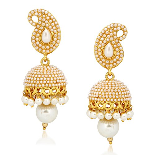 c585548c36bad2 Meenaz Kundan Pearl Jhumki Earrings For Women Girls In Traditional Ethnic Gold  Plated J139