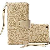 IPhone 6S Case,iPhone 6S,Case For IPhone 6S,iPhone 6S Leather Case, YoungDoria Luxury Wallet Flip Leather Case Cover For IPhone 6S [4.7 Inch] (Camellia - Golden)