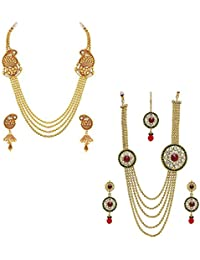 YouBella Jewellery Gold Plated Combo Of Two Necklace For Girls Fashion Party Wear Necklace Jewellery Set With...