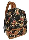 Generic Women Girl Lady Vintage Cute Flower School Book Campus Bag Backpack (Black)
