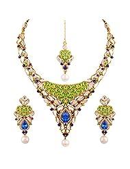Variation Royal Blue Green Meenakari Kundan Necklace Set For Women