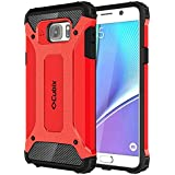Cubix Defender Dual Layer Shockproof Bumper Back Case Cover For Samsung Galaxy Note 5 (Red)