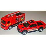 Fire Rescue Company 1/46 Scale 5-inch Fire Truck SET Of 2 [Fire Engine + Ford F-150 4X4 SVT Raptor S