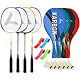 Guru KarbonBR03 Series-COMBO-3 Badminton Racquets Set Pack Of Four With Four Cover Six Shuttlecock & Four Hand...
