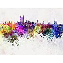 ArtzFolio Mumbai Skyline In Watercolor, India - Extra Large Size 48.0 Inch X 36.0 Inch - UNFRAMED PREMIUM MUSEUM-GRADE...