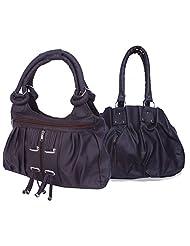 Arc HnH Women Combo Handbag Pretty Black + Fancy Ring Dark Brown
