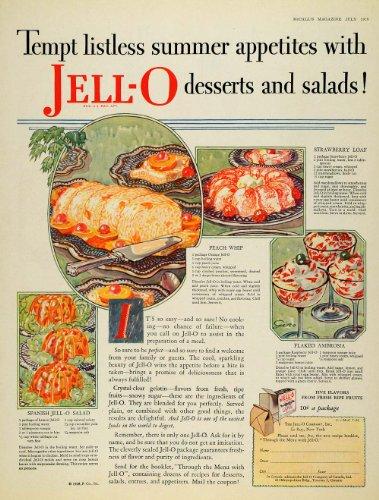 1928 Ad Jello Desserts Salads Recipes Flaked Ambrosia - Print Ad