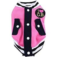 Imported Pet Dog Cat Baseball Jacket Winter Clothes Coat Uniform Costumes Pink XL
