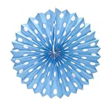 PrettyurParty Light Blue Polka Dots Paper Fans