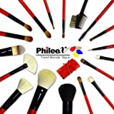 Phileex Professional 19 Piece Makeup Brush Set/kit With Pouch Set Of 18 Brushed And 1 Pouch Red