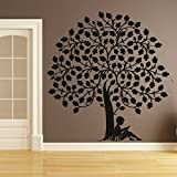 DeStudio Boy Under Tree One Home Art Decor Removable Vinyl Room Wall Sticker (105 X 60 Centimeter, Blue)
