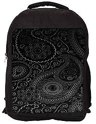 Snoogg Paisely Pattern Black Backpack Rucksack School Travel Unisex Casual Canvas Bag Bookbag Satchel