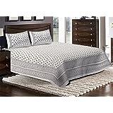 Jaipuri Haat Vegetable Indigo Hand Block Print Cotton Bedsheet With 2 Pillow Covers- King Size, White