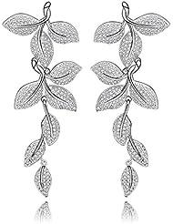 Via Mazzini White Gold Plated AAA Swiss Cubic Zirconia Leafy Dangle Earrings For Women (ER0884)
