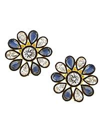 The Jewelbox 7 Stone Flower Kundan Polki American Diamond Sapphire Blue Gold Plated Stud Earring For Women