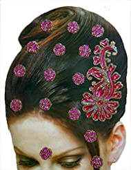 DollsofIndia Golden And Magenta Color Stone Studded Stick-on Hair Decoration (Can Be Used On Other Parts Of The...
