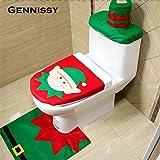 Generic Santa Claus 4 : 4 Styles 1 Set/4pc Fancy Happy Santa Toilet Seat Cover Rug Bathroom Set Decoration Rug...