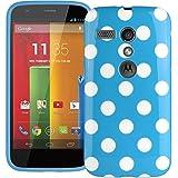 Xylo Blue & White Spots : Black Polka Dot Gel Case & Screen Protector For Motorola Moto G