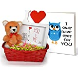 Valentines Gifts For Husband | Valentines Gifts For Girlfriend | Valentines Gifts For Boyfriend | Valentines Gifts For Wife Combo Pack(Small Teddy,Photo Frame (Replaceable Photo/Poster),Bamboo Basket And Greeting Card)