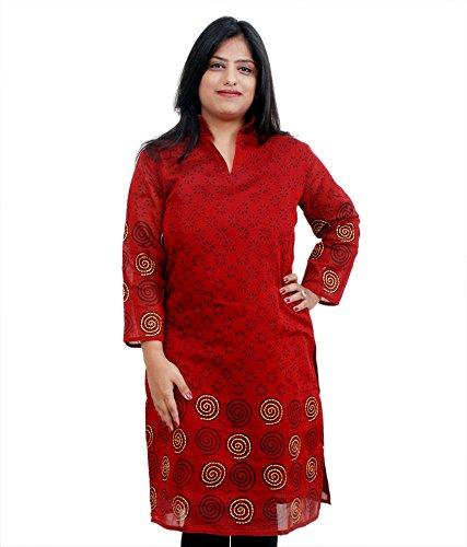 Viniyog Women Hand Woven Maheshwari Cotton-Silk Hand Block Printed Red Kurti