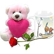 Valentine Gifts HomeSoGood Love Life Post Valentine White Ceramic Coffee Mug With Teddy & Red Rose - 325 Ml