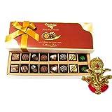 Chocholik Belgium Chocolates - 16pc Perfect Combo Of Taste And Charm With Ganesha Idol - Diwali Gifts