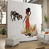 Rawpockets Decal ' African Tribal Jungle Story' Multi-Color Extra Large Size Wall Sticker(Material- PVC Vinyl Matte Finish,Wall Coverage Area -Height -70cm X Width -130cm)( Pack Of 1)