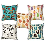 ShopMantra Seamless Vector Pattern Design Printed Printed Cushion Cover Set Of 5 Size 16*16 Inch 16*16 Inch