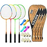 Guru KotexBR10 Series-COMBO-4 Badminton Racquets Set Pack Of Four With Four Cover Six Shuttlecock & Four Hand...