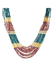 The Fine World Pine And Brass Browan And Golden Necklace For Women