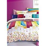 Bianca Peek-A-Boo Peek-A-Boo Cotton Double Bedsheet With 2 Pillow Covers - Desert Sand (BED354)