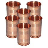 Set Of 6 - Prisha India Craft ® DIWALI GIFT Drinking Copper Glass Tumbler Handmade Water Glasses - Traveller's...