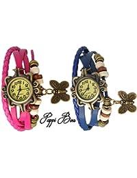 Pappi Boss Set Of 2 Vintage Leather Pink & Dark Blue Butterfly Bracelet Watch For Girls, Women - Combo Offer