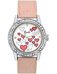 Cavalli White Dial With Pink Heart Print Watch-For Women, Girls