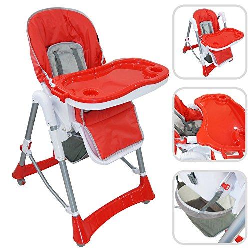 Babyfield - Chaise haute règlable pour bébé - Chaise rouge avec tablette...
