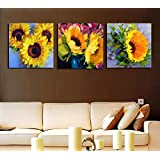 3 Painting Sets Of Three Beautiful Bunches Of Sunflowers Canvas Oil Painting Print With Wooden Mounting | Suryastores CANVAS CLOTH PAINTING PRINT , 12 X 12 Inch Each By Suryastores