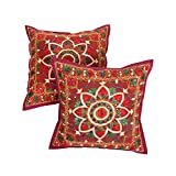 Rajrang Designer Embroidery Work Cotton Cushion Cover Set Of 2 Pcs