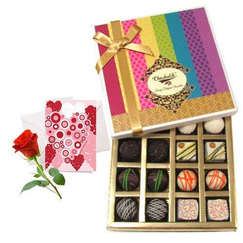 Pretty Admire Of White And Dark Chocolate Box With Love Card And Rose - Chocholik Belgium Chocolates