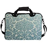 """Snoogg Motif Print Blue 15"""" 15.5"""" 15.6"""" Inch Laptop Notebook SlipCase With Shoulder Strap Handle Sleeve Soft Case..."""