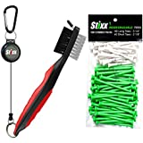 #1 Heavy Duty Golf Brush & Groove Cleaner And 100 Combo Pack Of Biodegradable Golf Tees - Includes 60 Long Tees...