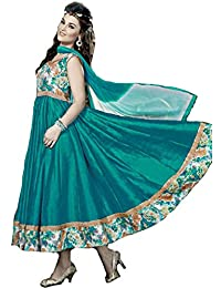 Exotic India Viridian-Green Anarkali Suit With Printed Flowers And Gota - Green