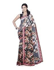 Aadarshini Women's Chiffon Saree (4089, Black And Beige)
