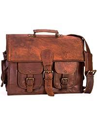Crafat Brown Genuine Leather Office Laptop/Macbook Messenger Bag 15x11 Vintage Look