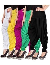 Navyataa Women's Lycra Dhoti Pants For Women Patiyala Dhoti Lycra Salwar Pant Free Size (Pack Of 5)(White,Yellow...